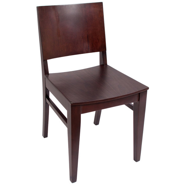 BFM Seating SWC305RM-RM Dover Royal Mahogany Colored Beechwood Side Chair with Wooden Seat Main Image 1