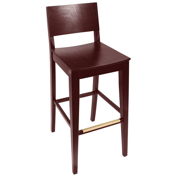 BFM Seating SWB305RM-RM Dover Royal Mahogany Colored Beechwood Bar Height Chair with Wooden Seat Main Image 1