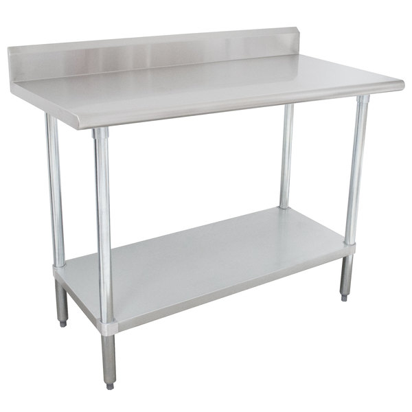 "16 Gauge Advance Tabco KLAG-244-X 24"" x 48"" Stainless Steel Work Table with 5"" Backsplash and Galvanized Undershelf"