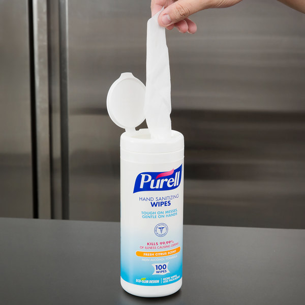 Purell® 9111-12 Sanitizing Wipes 100 Count Canister - 12/Case Main Image 8
