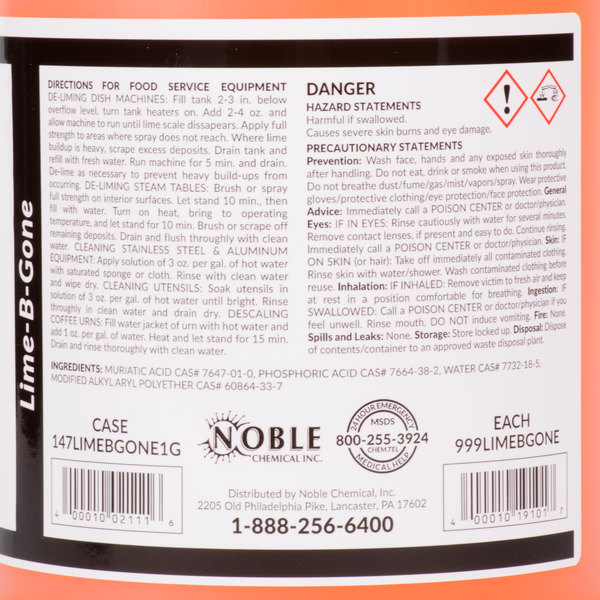 Noble Chemical 1 Gallon / 128 oz  Lime-B-Gone Delimer / Descaler - 4/Case