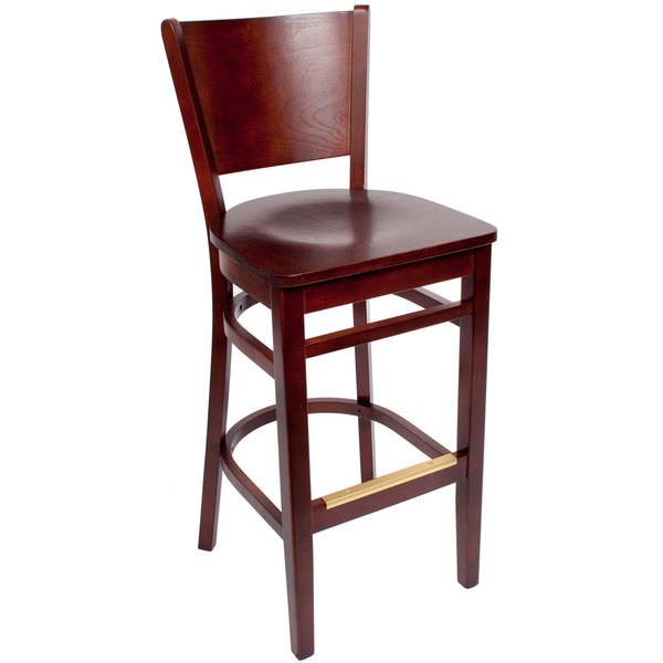 BFM Seating SWB301RM-RM Merion Royal Mahogany Colored Beechwood Bar Height Chair with Wooden Seat Main Image 1