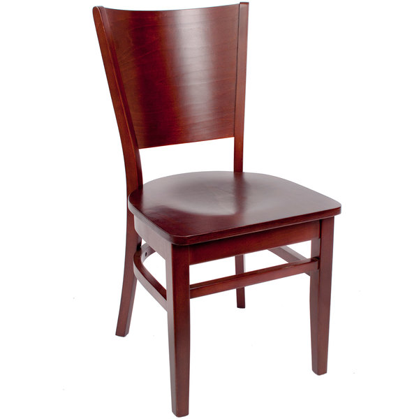 BFM Seating SWC301RM RM Merion Royal Mahogany Colored Beechwood Side Chair  With Wooden Seat