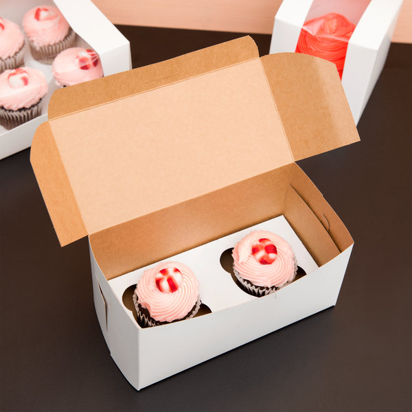 "Southern Champion 8"" x 4"" x 4"" White Cupcake Box with Insert - 10/Pack"