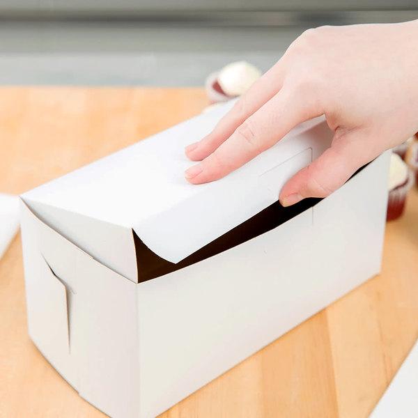 "Southern Champion 0924 8"" x 4"" x 4"" White Cupcake / Bakery Box - 10/Pack"