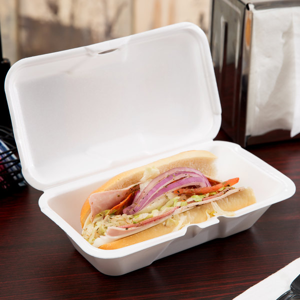 """Genpak 21900 9 1/2"""" x 5 1/4"""" x 3 1/2"""" White Large Foam Hinged Lid Hoagie / Sub Container - 200/Case"""