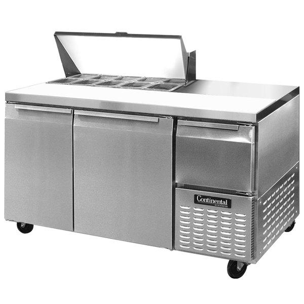 """Continental Refrigerator CRA60-10 60"""" 2 Door 1 Half Door Refrigerated Sandwich Prep Table"""