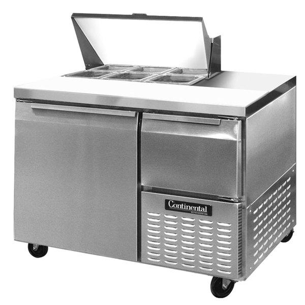 """Continental Refrigerator CRA43-6 43"""" 1 Door 1 Half Door Refrigerated Sandwich Prep Table"""