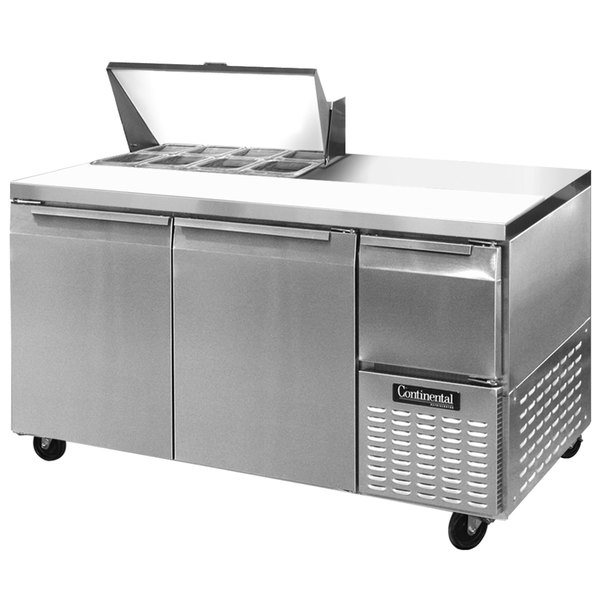 "Continental Refrigerator CRA68-8 68"" 2 Door 1 Half Door Refrigerated Sandwich Prep Table"
