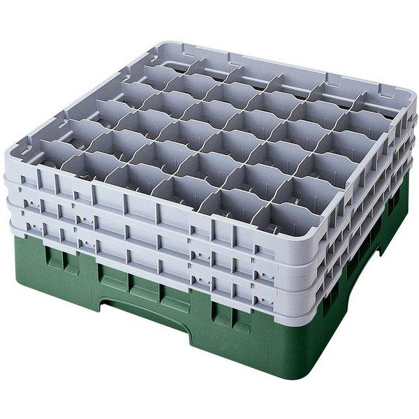 "Cambro 36S534119 Sherwood Green Camrack Customizable 36 Compartment 6 1/8"" Glass Rack"