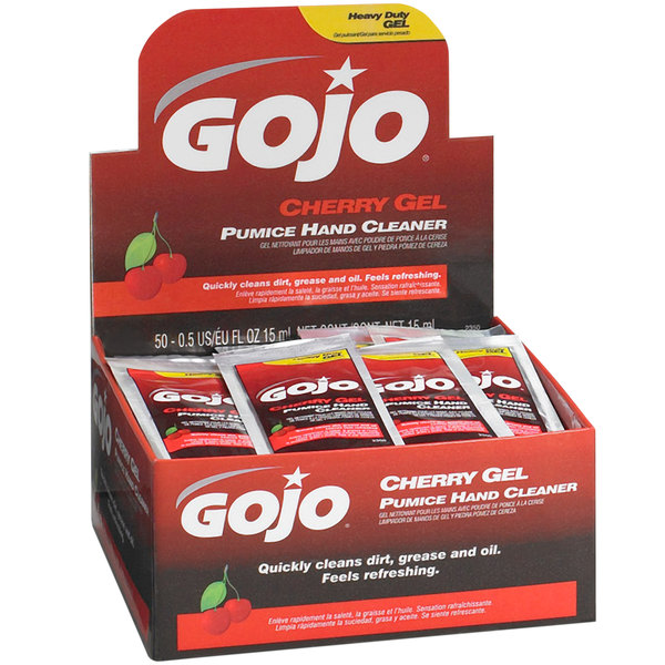 GOJO® 2350-02 0.5 oz. Cherry Gel Pumice Hand Cleaner with Display Box - 2/Case Main Image 1