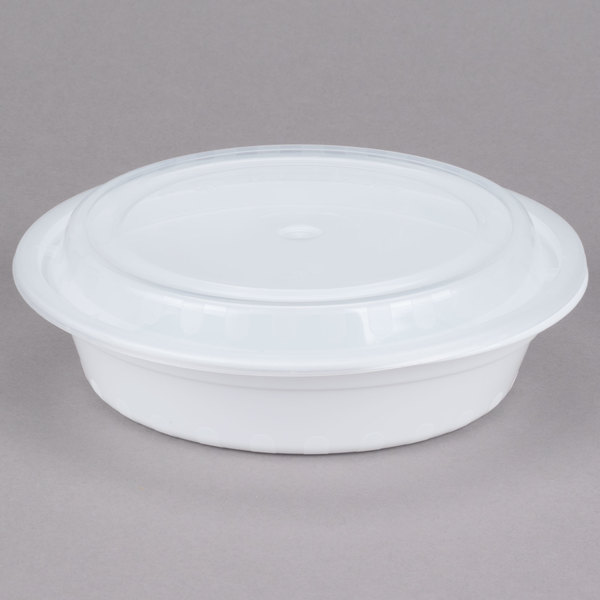 Choice 24 oz. White 7 1/4 inch Round Microwavable Heavyweight Container with Lid - 150/Case
