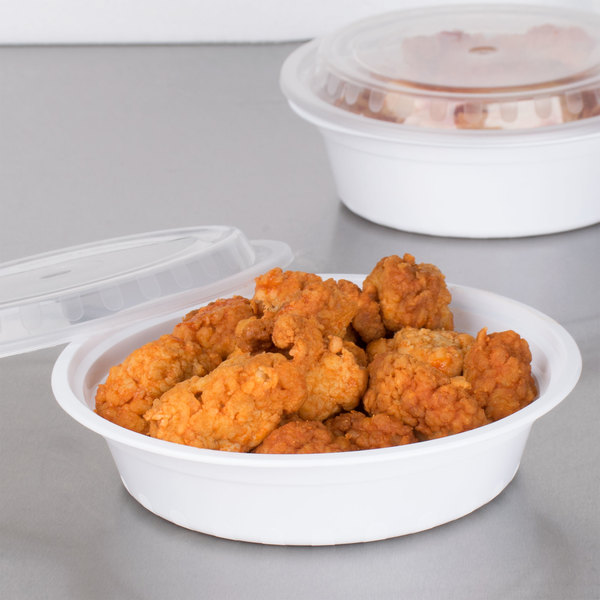 "Choice 24 oz. White 7 1/4"" Round Microwavable Heavy Weight Container with Lid - 150/Case"