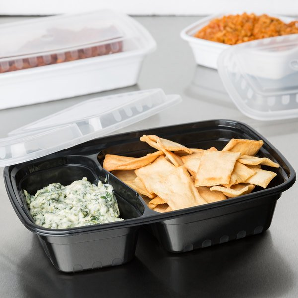 """Choice 30 oz. Black 8 3/4"""" x 6"""" x 2 3/4"""" 2-Compartment Rectangular Microwavable Heavy Weight Container with Lid - 150/Case"""