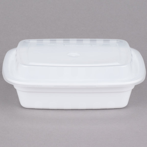Choice 12 oz. White 6 inch x 4 3/4 inch x 1 3/4 inch Rectangular Microwavable Heavyweight Container with Lid  - 150/Case