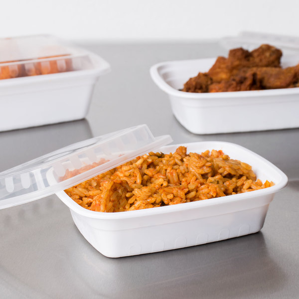 """Choice 12 oz. White 6"""" x 4 3/4"""" x 1 3/4"""" Rectangular Microwavable Heavyweight Container with Lid - 150/Case"""