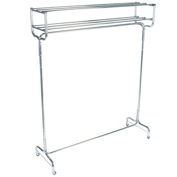 """CSL 1074-48 48"""" Portable Valet Double Coat / Hat Rack with Casters"""