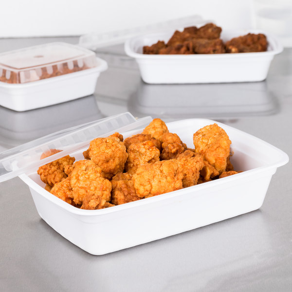 """Choice 38 oz. White 8 3/4"""" x 6 1/4"""" x 2"""" Rectangular Microwavable Heavy Weight Container with Lid - 150/Case Main Image 3"""