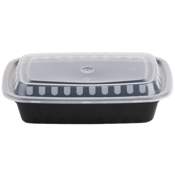 Choice 24 oz. Black 8 inch x 5 1/4 inch x 1 1/2 inch Rectangular Microwavable Heavyweight Container with Lid - 150/Case