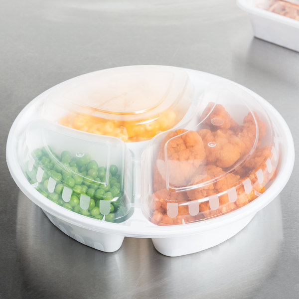 "Choice 33 oz. White 9"" Round 3-Compartment Microwavable Heavyweight Container with Lid - 150/Case"