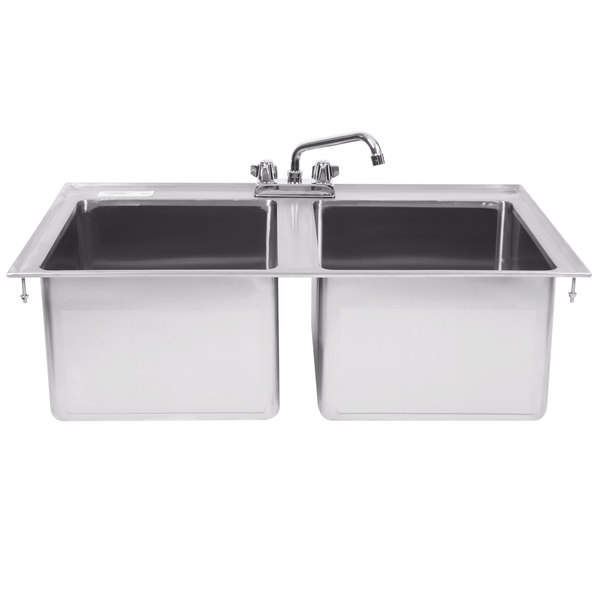 "Regency 14"" x 16"" x 10"" 16-Gauge Stainless Steel Two Compartment Drop-In Sink with 8"" Faucet"