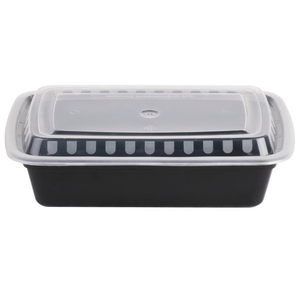 Choice 38 oz. Black 8 3/4 inch x 6 1/4 inch x 2 inch Rectangular Microwavable Heavyweight Container with Lid - 150/Case