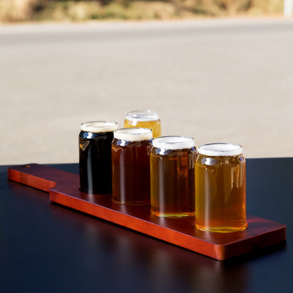 Libbey Beer Flight 5 Oz Clear Beer Can Glasses Set Of 4 With Wood