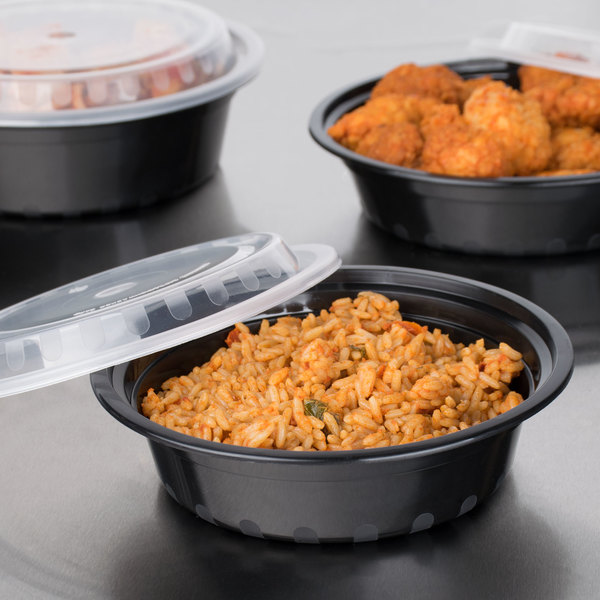 """Choice 16 oz. Black 6 1/4"""" Round Microwavable Heavy Weight Container with Lid - 150/Case"""