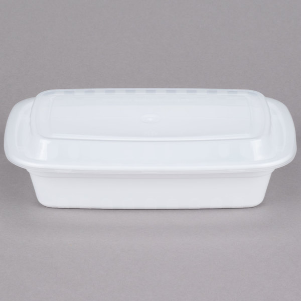 Choice 24 oz. White 8 inch x 5 1/4 inch x 1 1/2 inch Rectangular Microwavable Heavyweight Container with Lid  - 150/Case