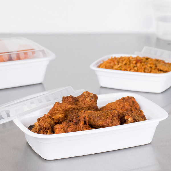"Choice 24 oz. White 8"" x 5 1/4"" x 1 1/2"" Rectangular Microwavable Heavy Weight Container with Lid - 150/Case"