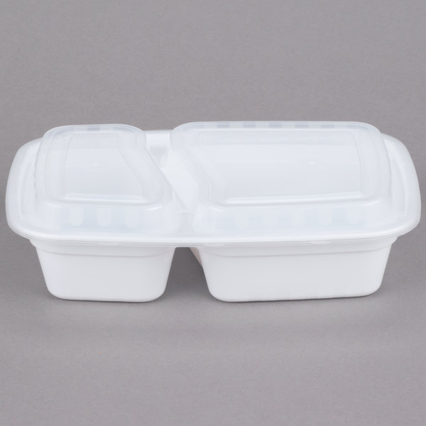 Choice 30 oz. White 8 3/4 inch x 6 inch x 2 3/4 inch 2-Compartment Rectangular Microwavable Heavyweight Container with Lid - 150/Case