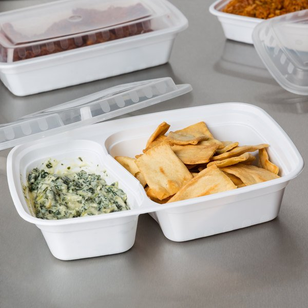 """Choice 30 oz. White 8 3/4"""" x 6"""" x 2 3/4"""" 2-Compartment Rectangular Microwavable Heavyweight Container with Lid - 150/Case"""