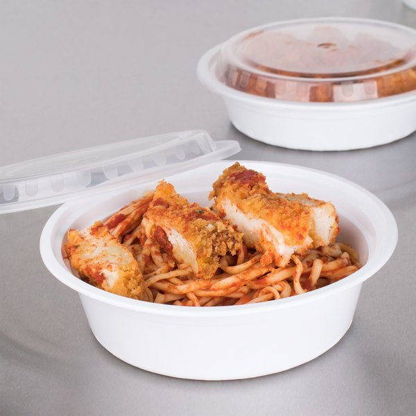 """Choice 32 oz. White 7 1/4"""" Round Microwavable Heavyweight Container with Lid - 150/Case"""