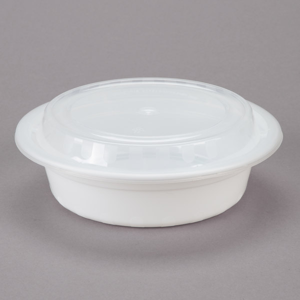 Choice 16 oz. White 6 1/4 inch Round Microwavable Heavyweight Container with Lid - 150/Case