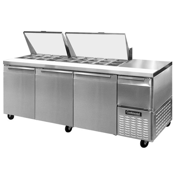 "Continental Refrigerator CRA93-27M 93"" 3 Door 1 Half Door Mighty Top Refrigerated Sandwich Prep Table"