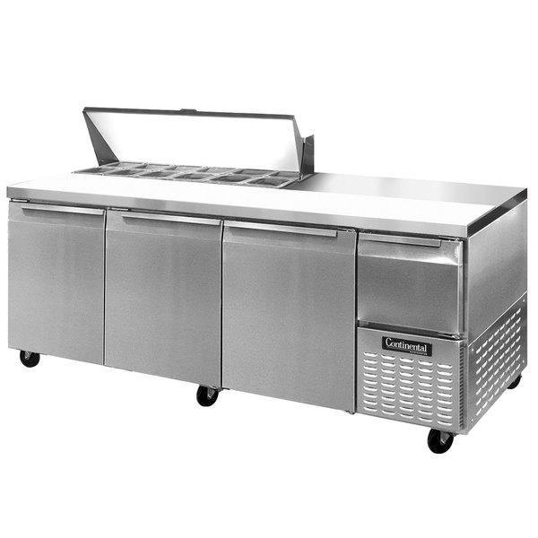 """Continental Refrigerator CRA93-12 93"""" 3 Door 1 Half Door Refrigerated Sandwich Prep Table"""