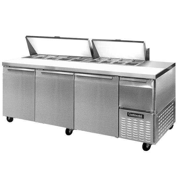 """Continental Refrigerator CRA93-18 93"""" 3 Door 1 Half Door Refrigerated Sandwich Prep Table"""