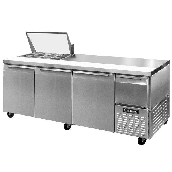 """Continental Refrigerator CRA93-12M 93"""" 3 Door 1 Half Door Mighty Top Refrigerated Sandwich Prep Table"""