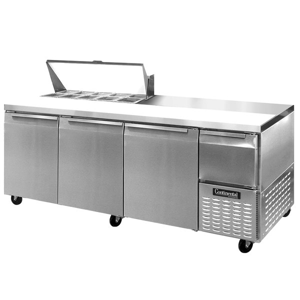"""Continental Refrigerator CRA93-10 93"""" 3 Door 1 Half Door Refrigerated Sandwich Prep Table"""