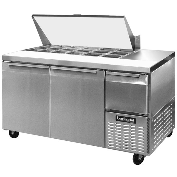 "Continental Refrigerator CRA68-18M 68"" 2 Door 1 Half Door Mighty Top Refrigerated Sandwich Prep Table Main Image 1"