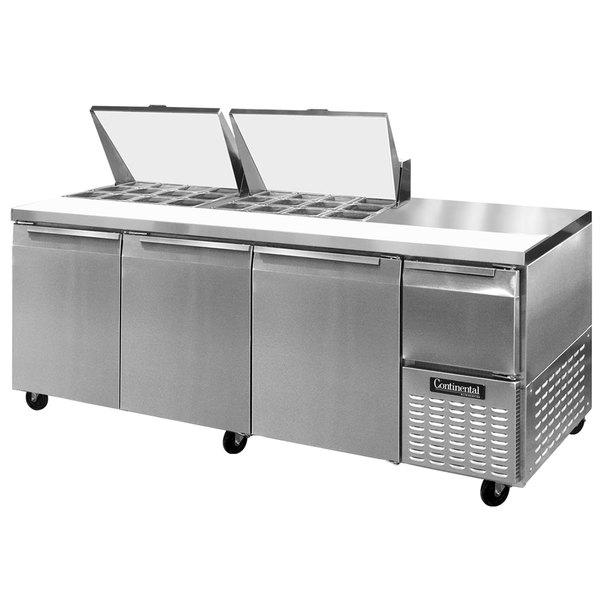 """Continental Refrigerator CRA93-24M 93"""" 3 Door 1 Half Door Mighty Top Refrigerated Sandwich Prep Table"""