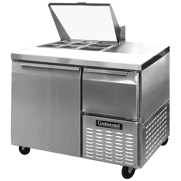 """Continental Refrigerator CRA43-9M 43"""" 1 Door 1 Half Door Mighty Top Refrigerated Sandwich Prep Table"""