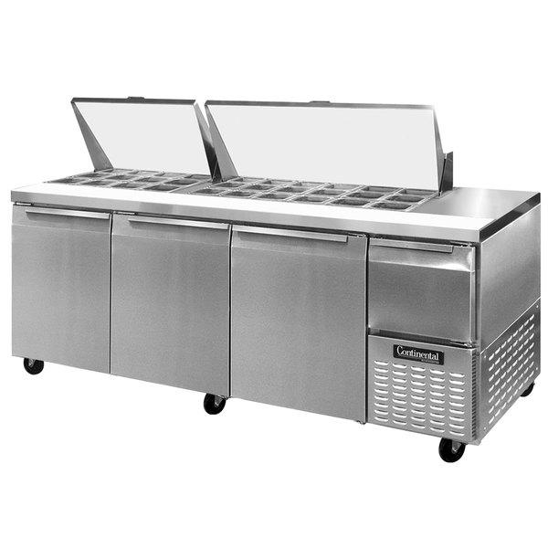 """Continental Refrigerator CRA93-30M 93"""" 3 Door 1 Half Door Mighty Top Refrigerated Sandwich Prep Table"""