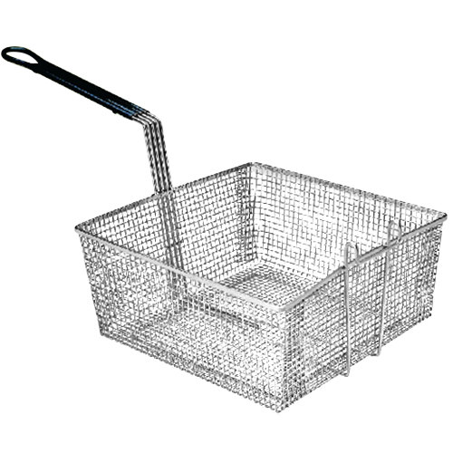 """Pitco P6072144 13 1/4"""" x 13 1/2"""" x 5 3/4"""" Full Size Fine Mesh Fryer Basket with Front Hook Main Image 1"""