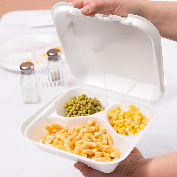 """Genpak SN243-WHT 8 1/4"""" x 8"""" x 3"""" White Medium 3-Compartment Foam Snap-It Hinged Lid Container - 100/Pack"""