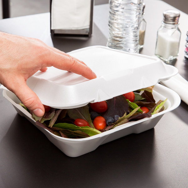 """Genpak SN200-WHT 9 1/4"""" x 9 1/4"""" x 3"""" White Large 1-Compartment Foam Snap-It Hinged Lid Container - 100/Pack"""