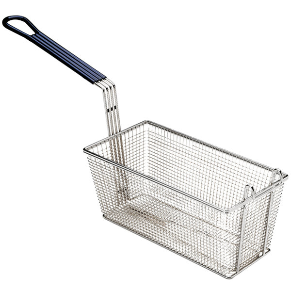 """Pitco P6072146 13 1/4"""" x 6 1/2"""" x 5 3/4"""" Twin Size Fine Mesh Fryer Basket with Front Hook"""