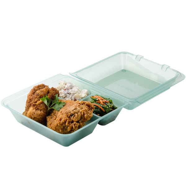 """GET EC-01 9"""" x 9"""" x 3 1/2"""" Jade Green Customizable 3-Compartment Reusable Eco-Takeouts Container - 12/Case"""