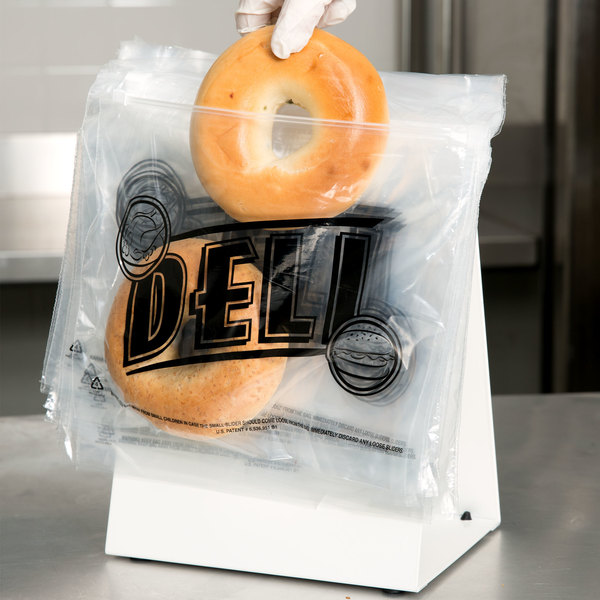 "Choice Deli Saddle Bag stand with Printed 10"" x 8"" Deli Bags - Slide Seal Top"