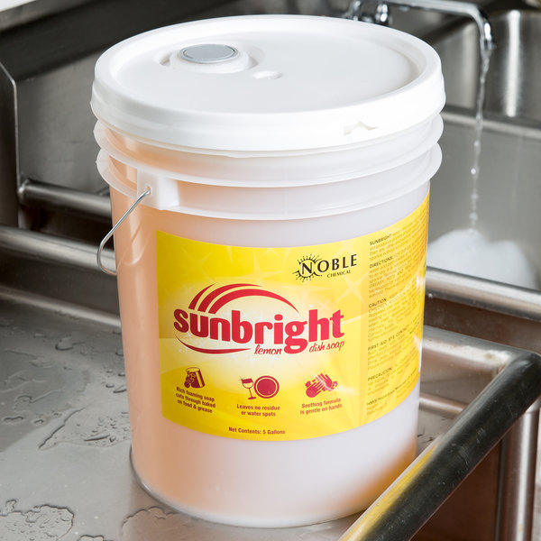 Noble Chemical Sunbright liquid dish soap on a counter
